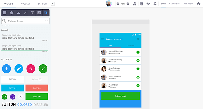 material design prototype example